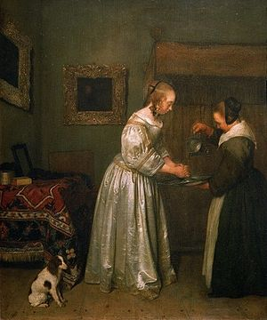 Health - A lady washing her hands c. 1655