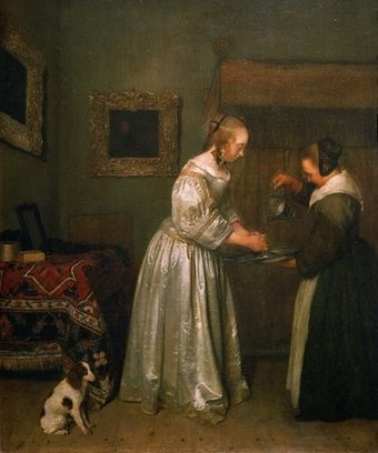 A lady washing her hands c. 1655 Borch Lady washing hands.jpg
