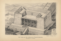 Painting of an Egyptian valley temple