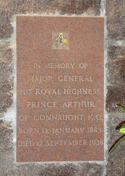 St Ninian's Chapel, Braemar - wall plaque commemorating Prince Arthur of Connaught (1883-1938) Braemar, Mar Lodge Estate, St Ninian's Chapel - wall plaque 04.JPG