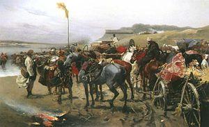 Pospolite ruszenie - Józef Brandt, Pospolite Ruszenie at a River Ford, 1880