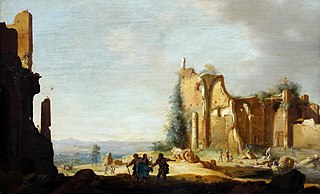 Landscape with classical ruins and Christ with his disciples on the road to Emmaus