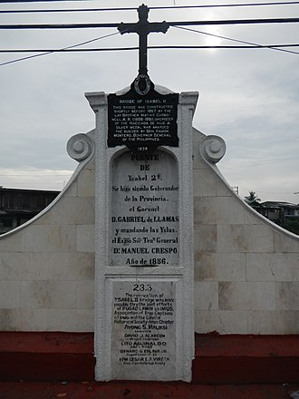 Historical markers of the Philippines - Spanish-era (1856) memorial upon the Bridge of Isabel II. An American era historical marker by the PHRMC was added in 1939 and was placed below the cross. A commemorative plaque was added during the term of Mayor Ayong Maliksi (1988-1998).