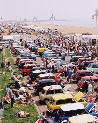 Seafront display of Minis after a London to Brighton drive Brighton seafront carshow.jpg