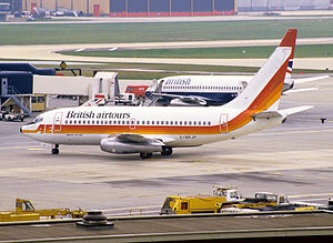 Air Europe - An Air Europe Boeing 737-2S3 Adv leased to British Airtours under the early-to mid-1980s AE–BA aircraft swap lease, seen at London Gatwick Airport in March 1984.