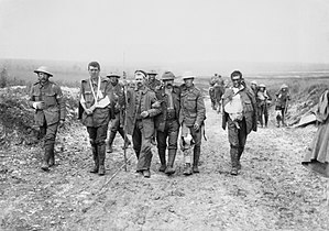 World War I casualties - British and German wounded, Bernafay Wood, 19 July 1916. Photo by Ernest Brooks