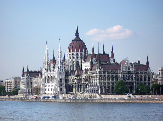 The Hungarian Parliament Building, resting beautifully on the Danube.