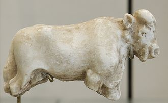 Jemdet Nasr period - Jemdet Nasr Period bull statue from limestone (found in Uruk, Iraq.)