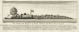 Bunce Island - Bunce Island in 1726 during the period of the Royal African Company