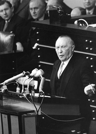 West Germany - Konrad Adenauer in parliament, 1955