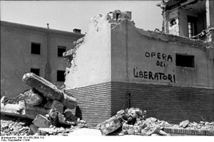 "Bombing of Rome in World War II -  Inscription on the wall of a bombed building, translated as ""Work of the Liberators!"" Rome, 1944"