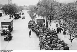 Second Battle of Kharkov - Soviet prisoners of war march through Kharkov after the battle.
