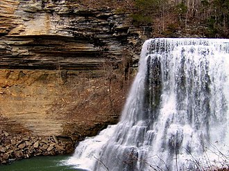 Burgess Falls State Park - Profile view of Burgess Falls, showing the walls of the gorge
