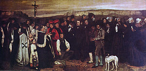Barge Haulers on the Volga - A Burial at Ornans, Gustave Courbet, 1850. Musée d'Orsay, Paris
