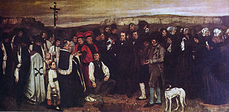Catholic funeral - Burial at Ornans (1850, Gustave Courbet, Louvre, Paris).