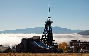 History of Butte, Montana - A headframe overlooking Butte.