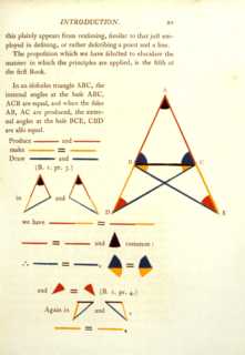 <i>Pons asinorum</i> Statement that the angles opposite the equal sides of an isosceles triangle are themselves equal