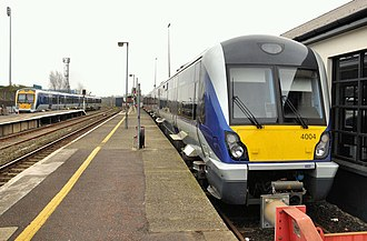Coleraine railway station - NIR Class 4000 (C4K) diesel multiple unit in Coleraine.