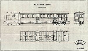 CGR Railmotor - Image: CGR Railmotor no. M6 Drawing