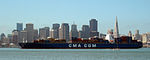 CMA CGM container ship and the San Francisco skyline. (3477320257).jpg