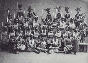 Dahomey Amazons - COLLECTION TROPEN MUSEUM Group portrait of the so-called 'Amazons from Dahomey' during their stay in Paris.