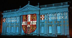 Light show on the Senate House, for the 800th anniversary of the foundation of the university