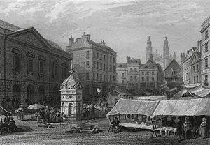 Market Hill, Cambridge - Image: Cambridge market place Le Keux 1841