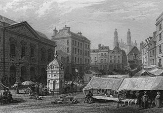 Market Hill, Cambridge - 1841 engraving showing the Hobson's Conduit fountain in the market place.