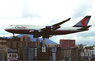 Canadian Airlines - Boeing 747-400 at Kai Tak Airport, Hong Kong, in 1998
