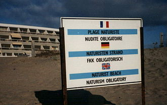 Cap d'Agde - Sign on the beach at Cap d'Agde.