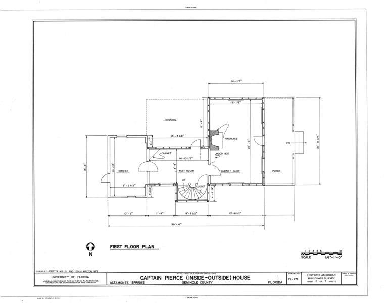 File:Captain Pierce House, Boston Avenue, Altamonte Springs, Seminole County, FL HABS FLA,59-ALTSP,1- (sheet 2 of 7).tif
