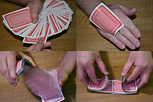 "Card manipulation - Card trick. Upper left: ""Pick a card, any card"". Upper right: Palming a card. Bottom left: A ""spring"" flourish. Bottom right: Mixing the cards allows for card trick preparation."