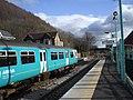 Cardiff-bound train leaving Crosskeys Station - geograph.org.uk - 1157274.jpg