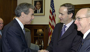 Carlos Gutierrez - US Secretary of Commerce Carlos Gutierrez with then Irish Foreign Minister Micheál Martin.