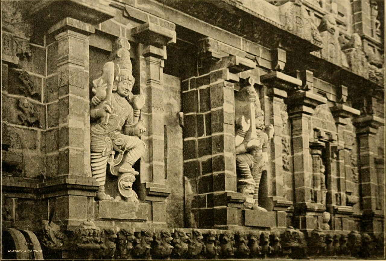 File carved figures on temple wall of tanjore south india