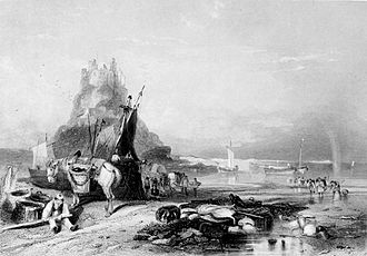 Lindisfarne Castle - Depiction of the castle in the 1840s
