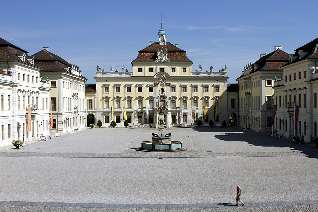 file central forecourt looking north ludwigsburg castle ludwigsburg germany. Black Bedroom Furniture Sets. Home Design Ideas