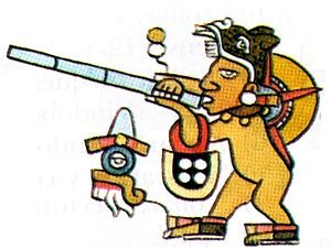 Blowgun - Mixtec blowgun Tlacalhuazcuahuitl depicted in Codex Bodley.