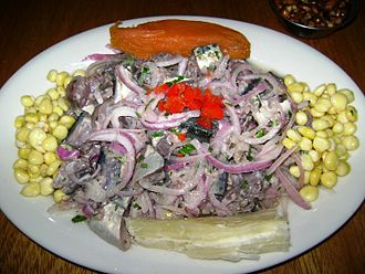 Ceviche is a popular lime marinated seafood dish which originated in Peru. Ceviche de caballa.JPG
