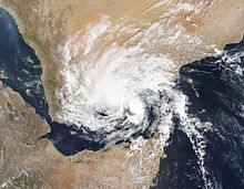 Satellite image of Chapala after its landfall over Yemen