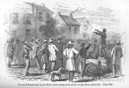 Engraving of a Confederate soldier firing at Union supporter Charles Douglas on Gay Street in Knoxville in late 1861 Charles-douglas-shooting-1862.jpg