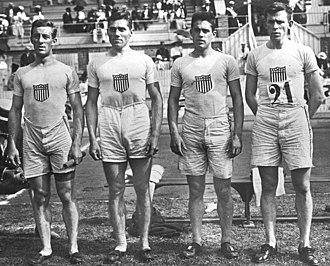 Edward Lindberg - Charles Reidpath, Edward Lindberg, James Meredith and Melvin Sheppard at the 1912 Olympics