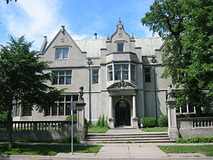 """Whittier, Minneapolis - The Charles S. Pillsbury mansion built in 1913 at 100 22nd Street East in the Washburn-Fair Oaks Mansion District. He was one of two sons of Charles Alfred Pillsbury, the founder of the Pillsbury Company and Pillsbury """"A"""" Mill."""