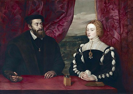 Emperor Charles V and Empress Isabella. Peter Paul Rubens after Titian, 17th century Charles V and Empress Isabella of Portugal, by Peter Paul Rubens.jpg