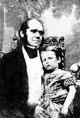 Darwin en 1842 con su hijo mayor, William Erasmus Darwin