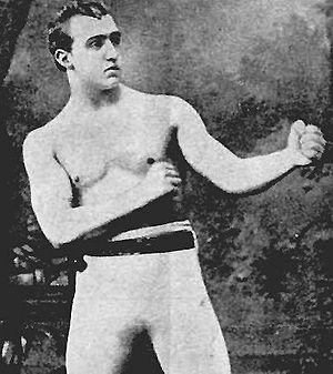 Irish martial arts - Charlie Mitchell demonstrating the traditional bare knuckle boxing stance.