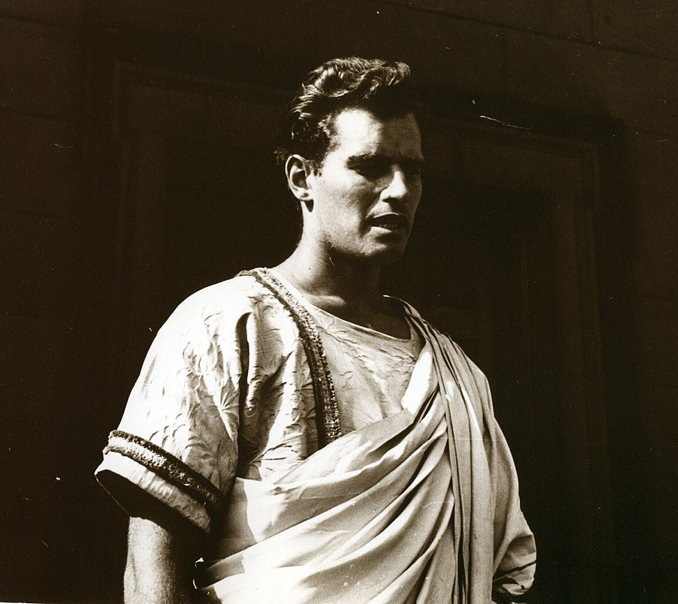 Charlton Heston as Antony, 1950, B&W image by Chalmers Butterfield