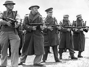 Owen Gun - Gen. Sir Harry Chauvel lined up with a group of officers for practice with an Owen gun