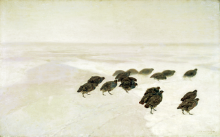 Partridges in the snow (detail).