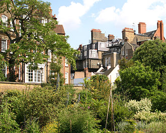 Chelsea Physic Garden - The garden with the house visible in the background.